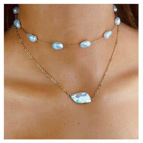 bijoux de mode simple chaîne en métal en forme de pendentif perle collier fait main en gros nihaojewelry NHCT232085's discount tags