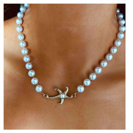 Collar de metal de perlas de imitación moda estrella de mar aleación colgante collar de cadena de clavícula venta al por mayor nihaojewelry NHCT232086's discount tags
