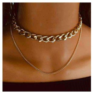 Moda salvaje aleación textura exagerada collar grueso cadena de clavícula retro doble collar al por mayor nihaojewelry NHCT232087's discount tags