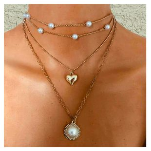 simple fashion alloy circle wild imitation pearl pendant necklace  wholesale nihaojewelry NHCT232089's discount tags