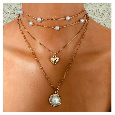 simple alliage de mode cercle sauvage imitation perle pendentif collier en gros nihaojewelry NHCT232089's discount tags