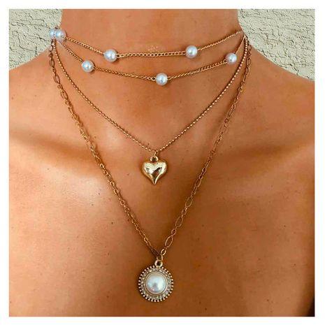 aleación de moda simple círculo collar de perlas de imitación salvaje al por mayor nihaojewelry NHCT232089's discount tags