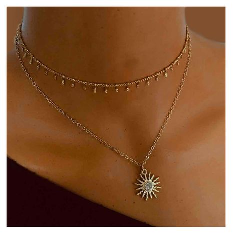 wild simple sun flower pendant jewelry fashion necklace  wholesale nihaojewelry NHCT232094's discount tags