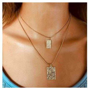 fashion style geometric chain necklace decoration simple relief square pendant double necklace wholesale nihaojewelry NHCT232095's discount tags