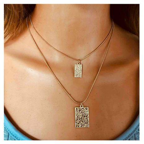style de mode chaîne géométrique collier décoration simple relief carré pendentif double collier en gros nihaojewelry NHCT232095's discount tags