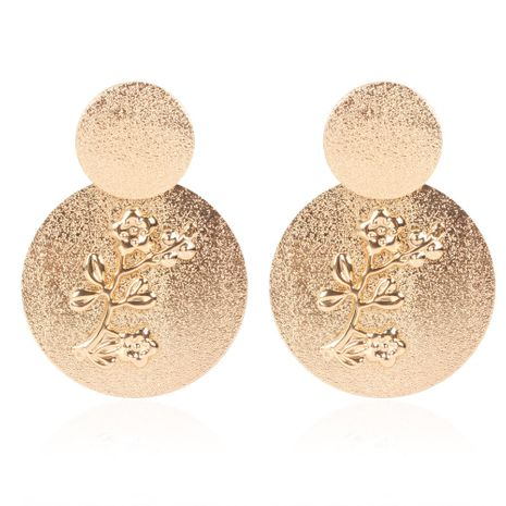 creative frosted alloy plum embossed round earrings retro earrings wholesale nihaojewelry  NHCT232098's discount tags
