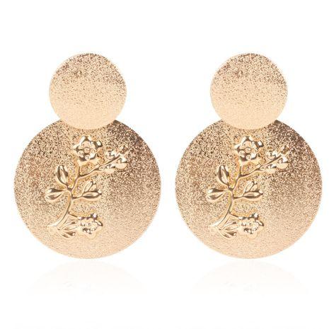 aleación de ciruela esmerilada creativa en relieve pendientes redondos pendientes retro al por mayor nihaojewelry NHCT232098's discount tags
