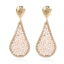 creative dropshaped alloy inlaid pearl earrings fashion wild earrings  wholesale nihaojewelry NHCT232099