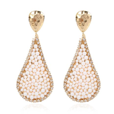 creative drop-shaped alloy inlaid pearl earrings fashion wild earrings  wholesale nihaojewelry NHCT232099's discount tags