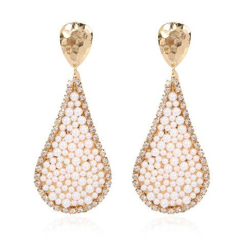 Pendientes de perlas con incrustaciones de aleación en forma de gota creativa pendientes salvajes de moda al por mayor nihaojewelry NHCT232099's discount tags