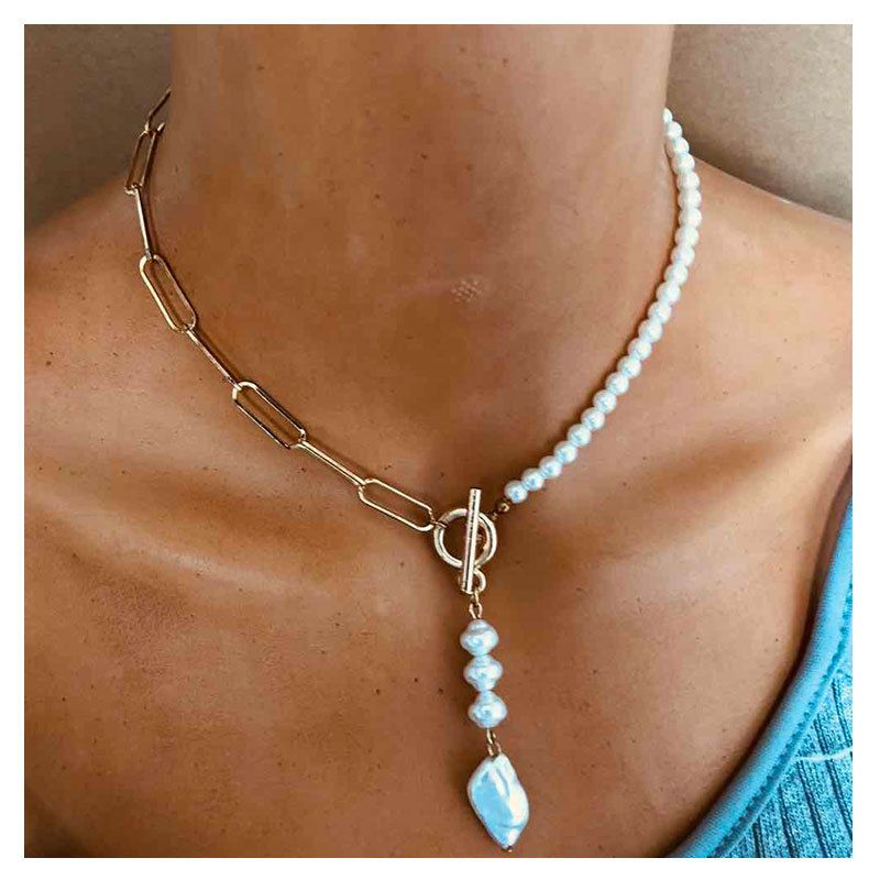 popular jewelry metal square chain resin pendant necklace wholesale nihaojewelry NHCT232103