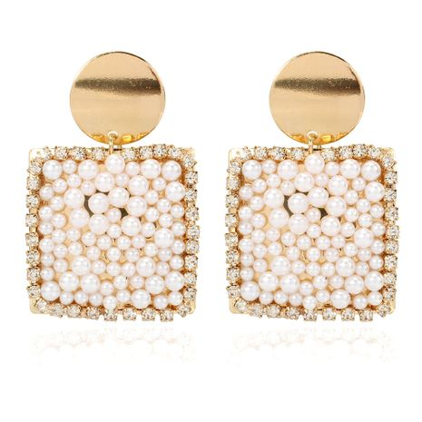 geometric alloy inlaid pearl earrings exaggerated creative earrings  wholesale nihaojewelry NHCT232104's discount tags