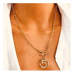 Moda salvaje aleación de cinco caracteres colgante clavícula cadena simple micro collar de diamantes al por mayor nihaojewelry NHCT232106's discount tags