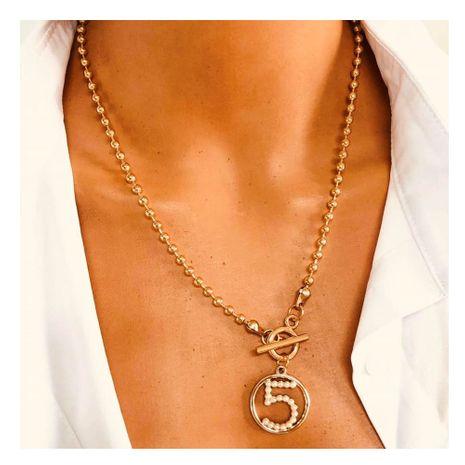 alliage de mode sauvage pendentif à cinq caractères chaîne de clavicule simple micro diamant collier en gros nihaojewelry NHCT232106's discount tags