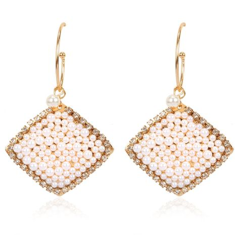 new retro style alloy inlaid pearl geometric diamond earrings exaggerated fashion earrings wholesale nihaojewelry NHCT232108's discount tags