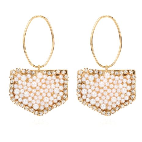 new retro alloy inlaid pearl geometric earrings simple style earrings wholesale nihaojewelry NHCT232109's discount tags