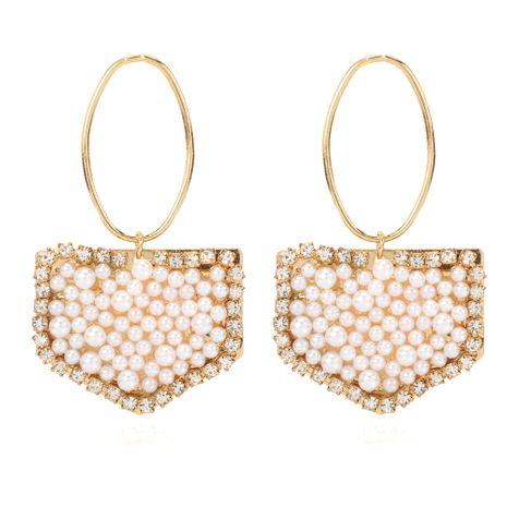 nouveau rétro alliage incrusté de perles géométriques boucles d'oreilles style simple boucles d'oreilles en gros nihaojewelry NHCT232109's discount tags