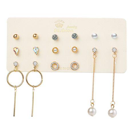 vente chaude goutte d'eau couleur diamant perle cercle boucles d'oreilles set 6 paires de boucles d'oreilles créatives simples en gros nihaojewelry NHYI232119's discount tags
