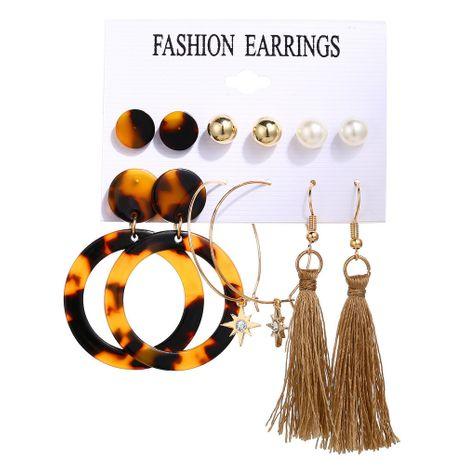 boucles d'oreilles acryliques à pompon octogonales chaudes ensemble 6 paires de boucles d'oreilles rétro créatives en gros nihaojewelry NHYI232121's discount tags