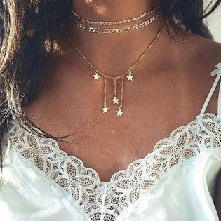 multicouche collier à cinq branches étoile collier combinaison mode dames multicouche collier à cinq branches étoile collier gros nihaojewelry NHYI232123