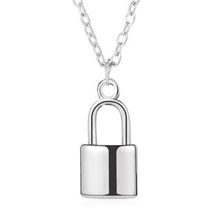 new necklace jewelry simple fashion metal plating lock necklace clavicle chain wholesale nihaojewelry NHCU232132's discount tags