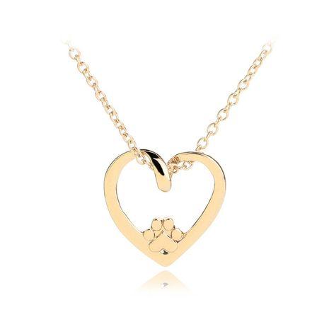 coeur de pêche collier de griffe de chat chaîne de clavicule mode simple amour évider collier de pendentif de griffe de chien en gros nihaojewelry NHCU232138's discount tags