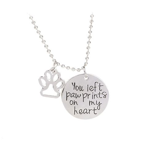 Necklace Letters You Left Paw Prints on My Heart Dog Claw Pendant Necklace wholesale nihaojewelry NHCU232148's discount tags