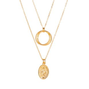 New Circle Leaf Pendant Necklace Double Geometric Jesus Necklace Metal Ring Pendant Jewelry wholesale nihaojewelry NHCU232150's discount tags