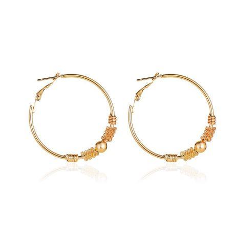 new fashion simple geometric hollow circle earrings winding beaded earrings wholesale nihaojewelry NHCU232153's discount tags