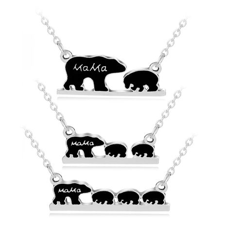 drop oil alphabet necklace Mama Bear cute little bear pendant necklace clavicle chain wholesale nihaojewelry NHCU232162's discount tags