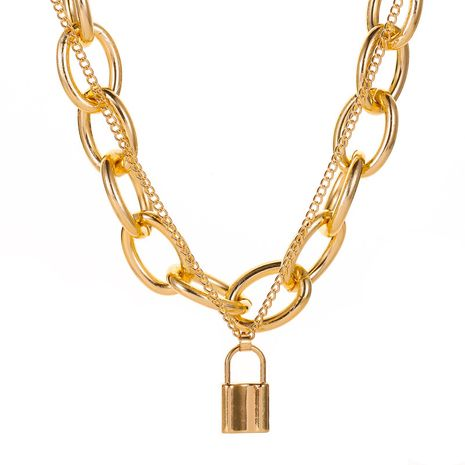 Retro Lock Necklace Punk Exaggerated Double Chain Necklace  Clavicle Chain Chain wholesale nihaojewelry NHCU232164's discount tags