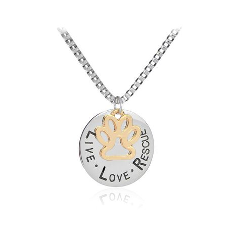 lettrage rond creux chat griffe pendentif collier lettres amour sauvetage chien griffe collier en gros nihaojewelry NHCU232167's discount tags