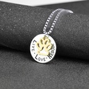 lettering round hollow cat claw pendant necklace letters Love Rescue dog claw necklace wholesale nihaojewelry NHCU232167