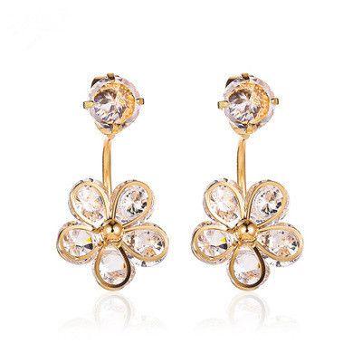 new earrings fashion crystal flower earrings five petals flower hanging earrings wholesale nihaojewelry NHCU232168's discount tags