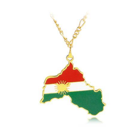 goutte huile carte pendentif collier géométrique Kurdistan carte pendentif pull chaîne collier en gros nihaojewelry NHCU232170's discount tags