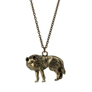 wild animal wolf necklace long necklace retro wolf head simple pendant necklace accessories wholesale nihaojewelry NHCU232171's discount tags