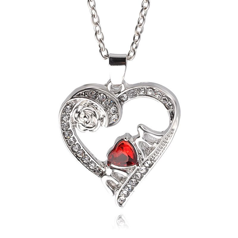 hot sale Fashion Letter mom Pendant Necklace Mother's Day Crystal Rose Necklace wholesale nihaojewelry NHCU232172