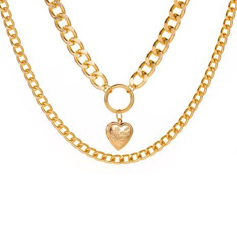 nouveau style cercle pêche coeur pendentif collier double couche amour pendentif exagéré chaîne épaisse collier dames chaîne de chandail en gros nihaojewelry NHCU232173's discount tags