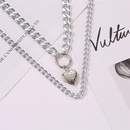 new style circle peach heart pendant necklace doublelayer love pendant exaggerated thick chain necklace ladies sweater chain wholesale nihaojewelry NHCU232173