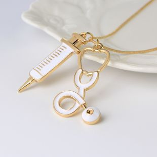 New Medical Equipment Necklace Periphery Doctor Syringe Stethoscope Necklace wholesale nihaojewelry NHCU232174's discount tags
