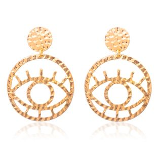 new earrings hollow outline eyes earrings non-mainstream street shooting fun exaggerated earrings wholesale nihaojewelry NHCU232178's discount tags