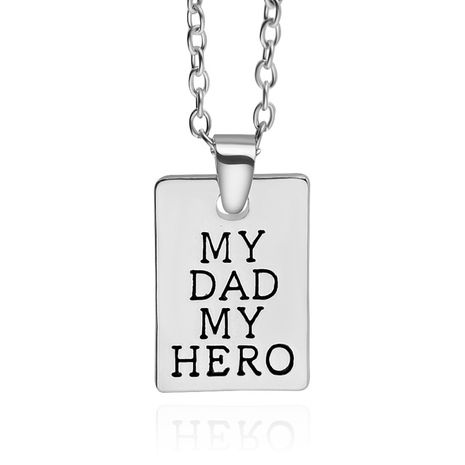 New Geometric Square Pendant Necklace Father's Day Necklace Dad Hero Tag Necklace wholesale nihaojewelry NHCU232180's discount tags
