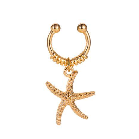 boucles d'oreilles océan vent étoiles pendentif oreille os clip simple étoile de mer indolore simple oreille clip en gros nihaojewelry NHCU232188's discount tags