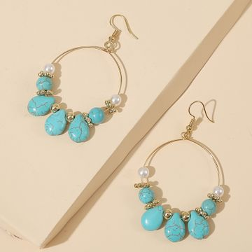 geometric round turquoise beaded earrings stone trend handmade earrings jewelry wholesale nihaojewelry NHLA232204