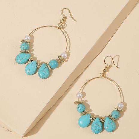 boucles d'oreilles perles géométriques rondes turquoise tendance pierre boucles d'oreilles fait main bijoux en gros nihaojewelry NHLA232204's discount tags