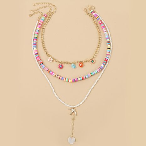 perles de riz en céramique souple trois multicouches collier fait main bohème tissé long pendentif bijoux en gros nihaojewelry NHLA232209's discount tags