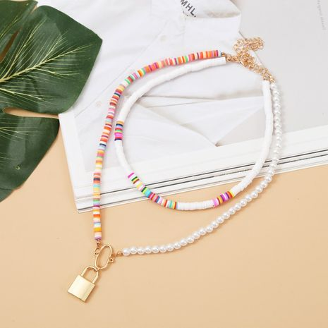 exaggerated colorful soft ceramic multilayer necklace bohemian two-piece beaded pendant jewelry wholesale nihaojewelry NHLA232210's discount tags