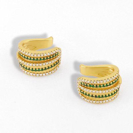 Korean fashion zircon ear bone clip micro-set fashion geometry C line ear clip earrings wholesale nihaojewelry NHAS232213's discount tags