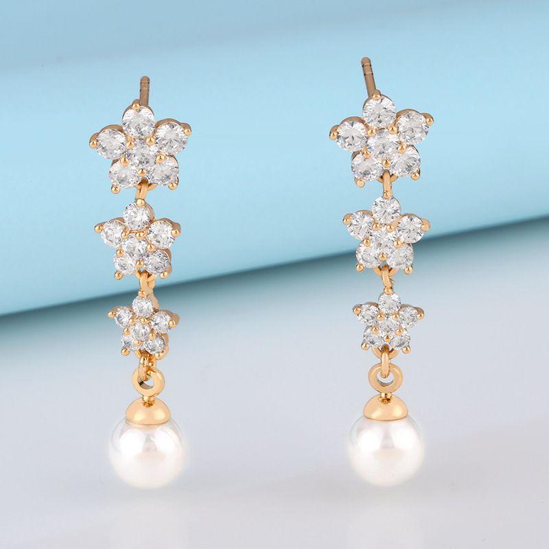 fashion chic girl flower tassel pearl earrings cute diamond earrings wholesale nihaojewelry NHAS232214