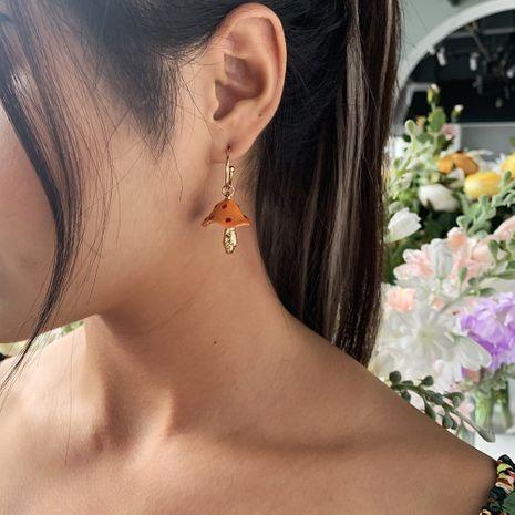 hot sale creative dream cute small mushroom drip earrings colorful drip mushroom earrings wholesale nihaojewelry NHMD232218's discount tags